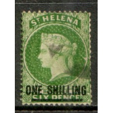1861 St. HELENA QV 1 Shilling on 6d green FU