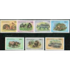 1983 UGANDA ANIMAL new values set of 7 MNH