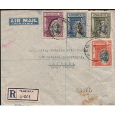 1936 ZANZIBAR Silver Jubilee set on Reg. Cover with arrival pm